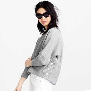 J. Crew Collection grey ribbed cropped sweatshirt